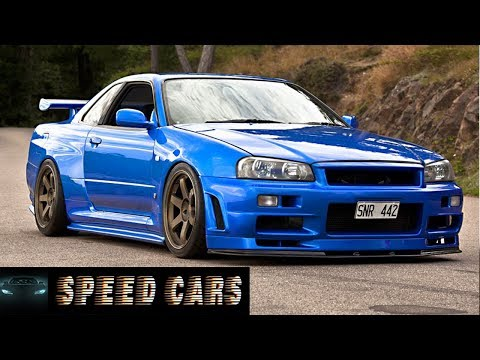 Nissan Skyline R34 GTR Brutal Acceleration Burnout And Exhaust Sound With Flames