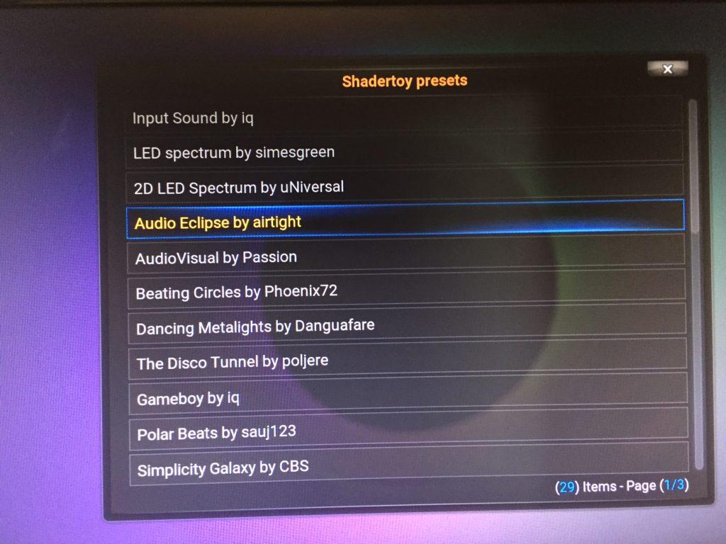 Full list of kodi/openelec audio visualizations