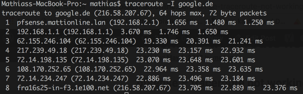 pfsense - traceroute not working