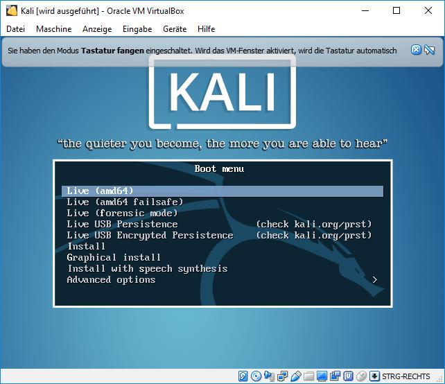 Kali Linux als Virtuelle Maschine (VM) Tutorial 2