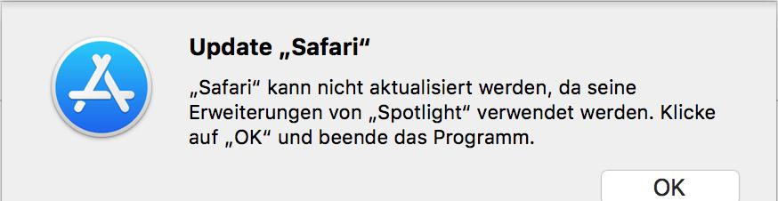safari update aktualisieren spotlight beenden fehler