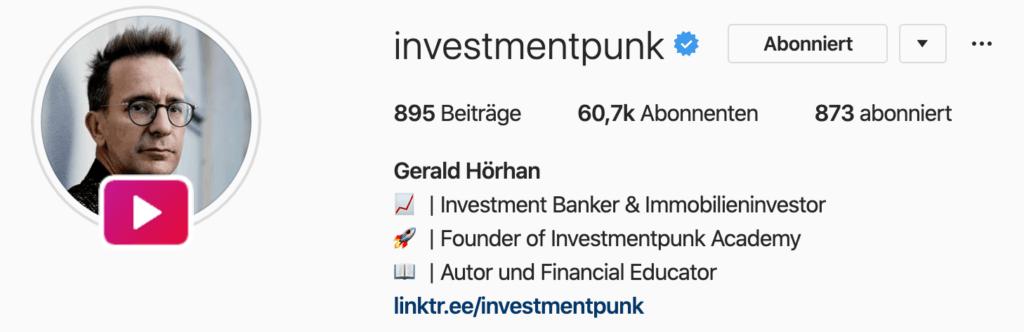 Beispielhafter Instagram Kanal mit vergangenem Livestream