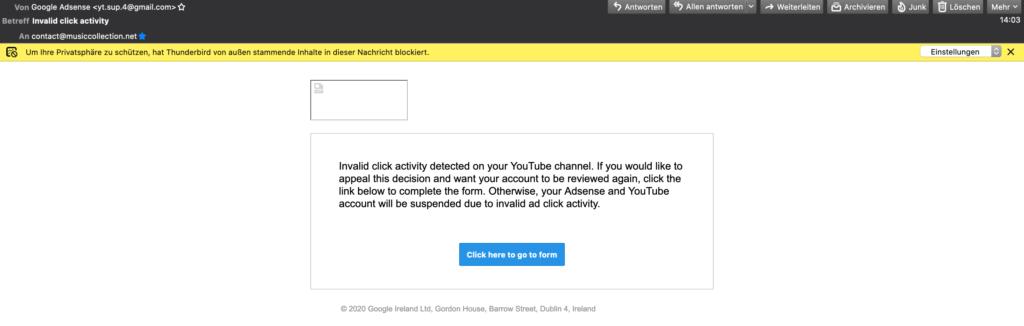 YouTube / Google Fake Mails
