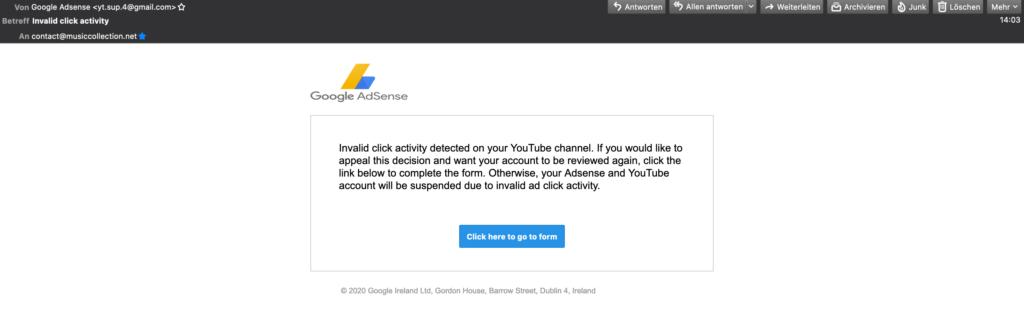 YouTube / Google Fake Mails 1