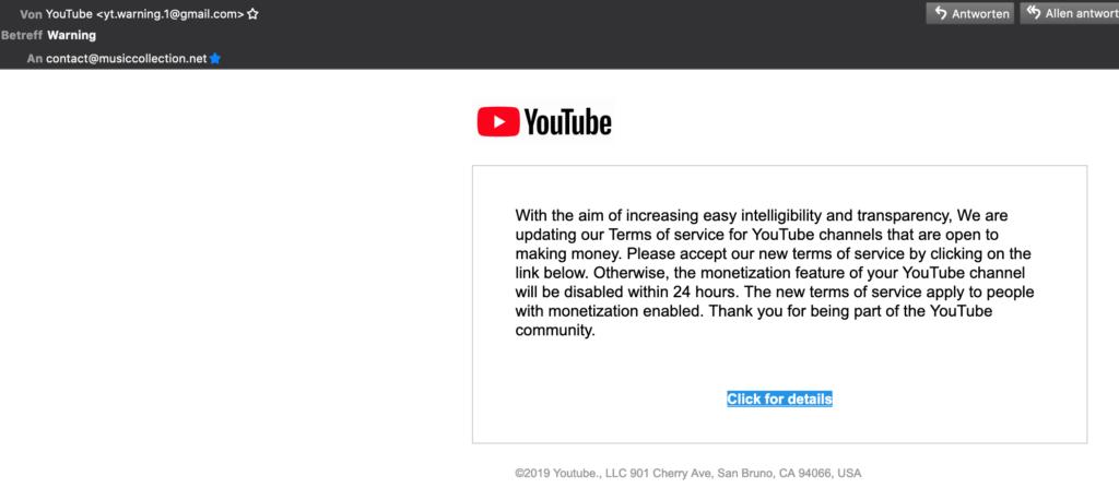 YouTube / Google Fake Mails 4