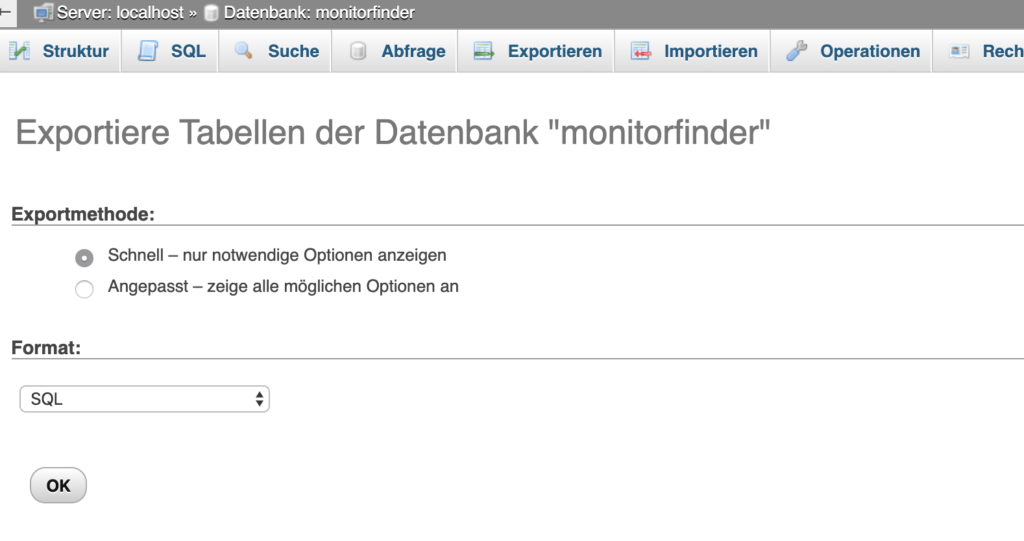 Wordpress Datenbank Backup einspielen