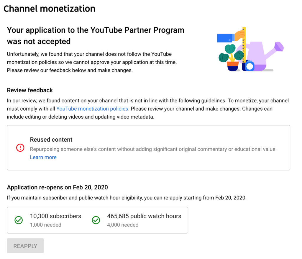 YouTube Reused Content Monetization