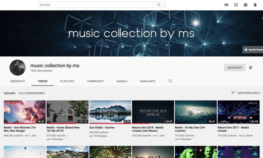 Beispiel eines YouTube Kanals