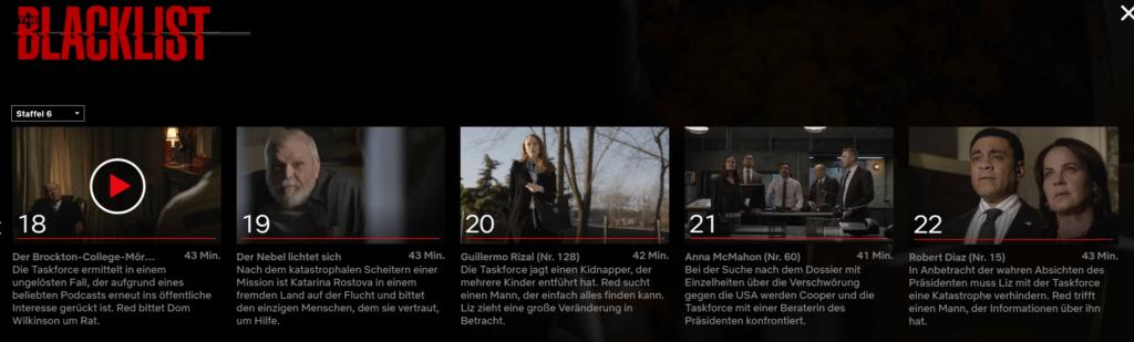 Blacklist Staffel 6 Netflix Release
