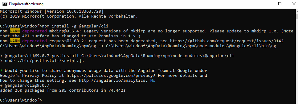 Angular Installation Windows 1