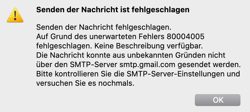 80004005 Error Thunderbird Gmail