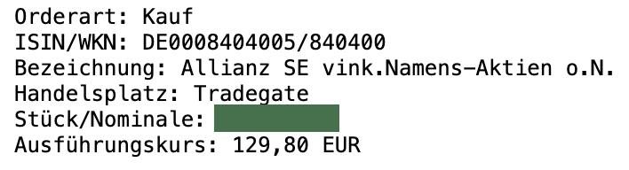 Allianz Aktie Kauf