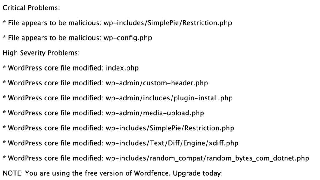 Wordfence Schadcode auffinden