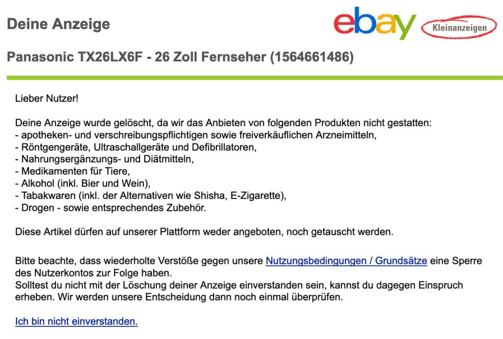 eBay Kleinanzeigen - Anzeige gelöscht 4
