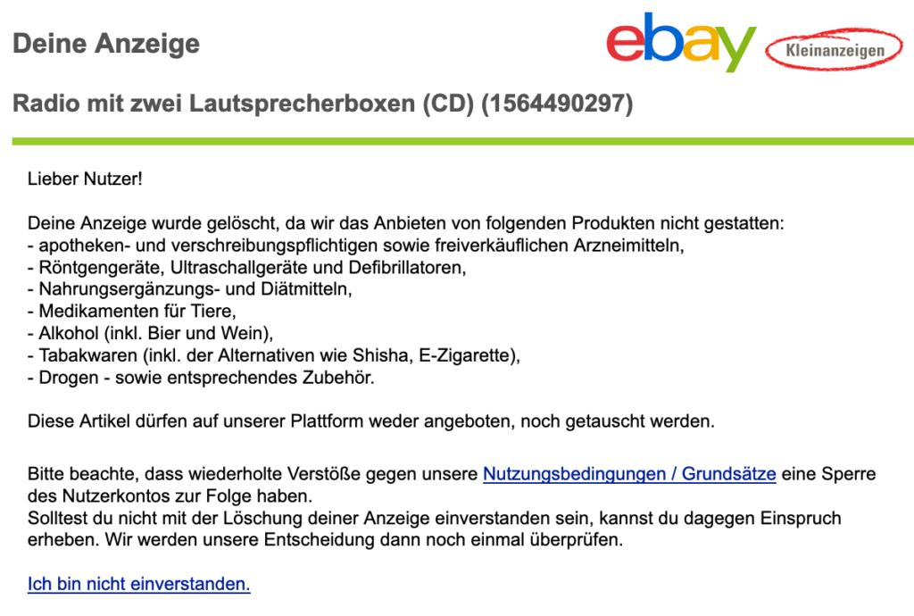 eBay Kleinanzeigen - Anzeige gelöscht 3