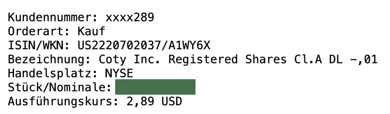 150% Gewinn mit Coty in 2 Monaten 1