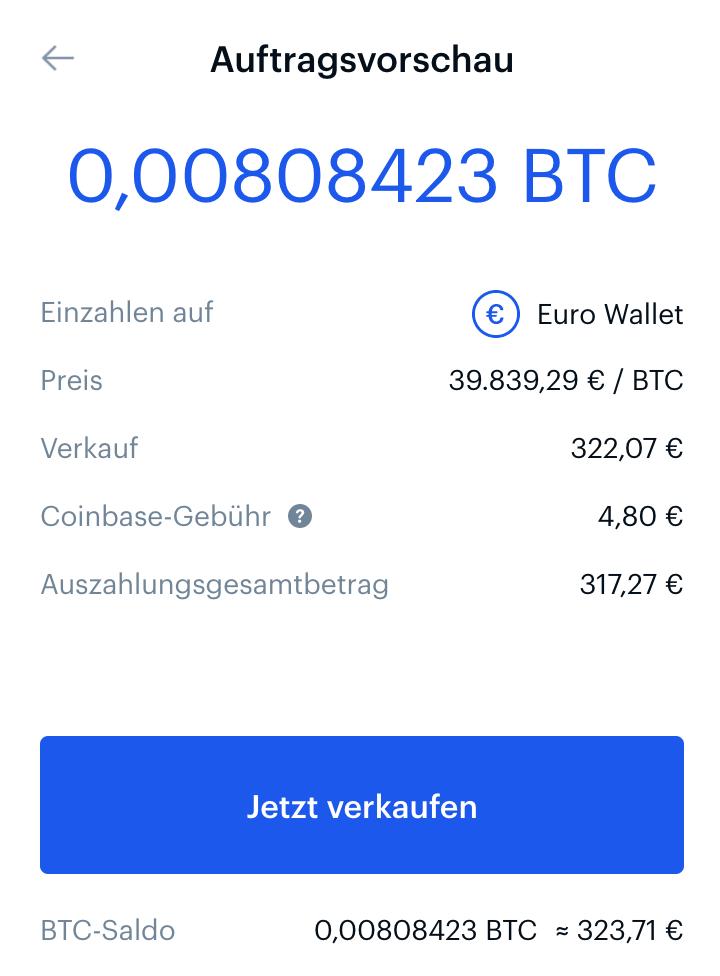 Verkauf der Bitcoins bei Coinbase