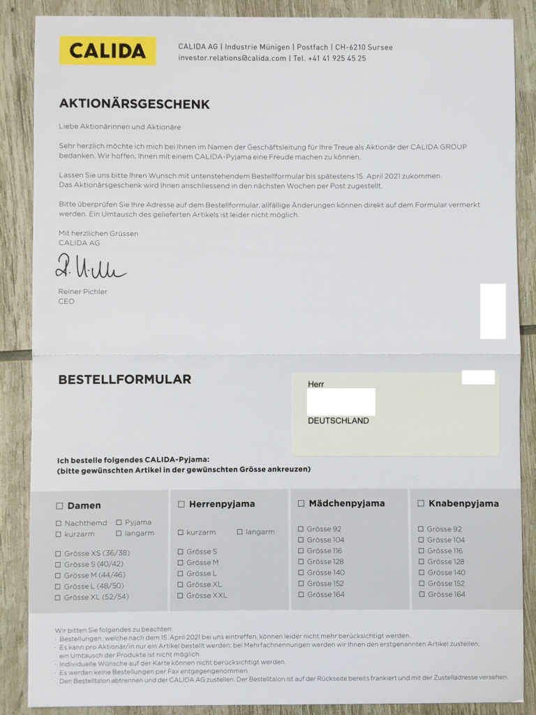 Calida Brief Aktionärsgeschenk