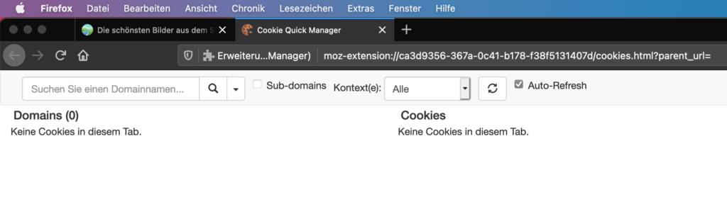 Cookie Quick Manager hat keine Cookies gefunden
