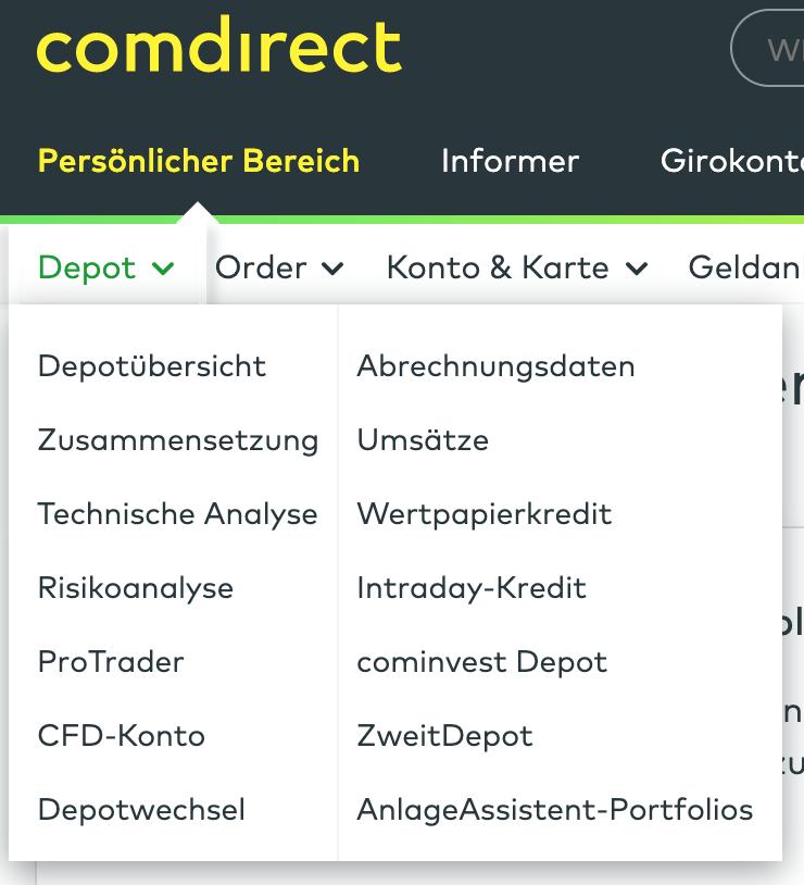 Comdirect Depotübersicht