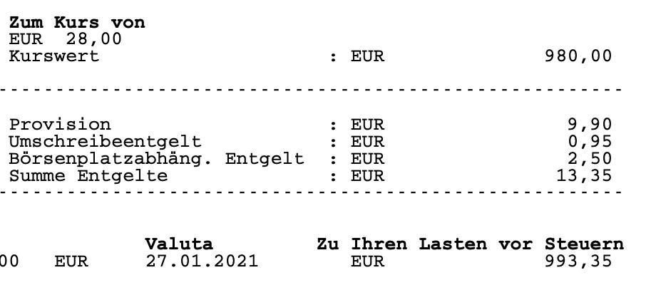 Gebühren bei einem 1.000 Euro Kauf