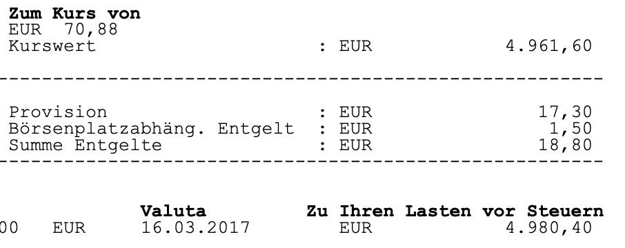 Gebühren bei einem 5.000 Euro Kauf